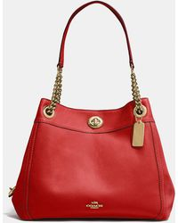bcc654f1a90c Lyst - COACH Turnlock Tie Bucket Bag In Matte Soft Grain Leather in Blue