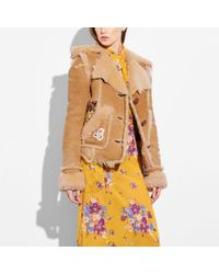 COACH - Eagle Raggedy Shearling Jacket - Lyst