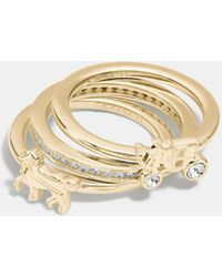 COACH Sterling Silver Horse And Carriage Ring Set