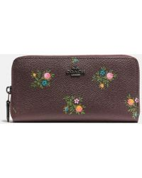 COACH - Accordion Zip Wallet With Cross Stitch Floral Print - Lyst