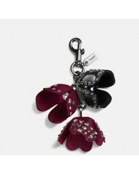 COACH - Studded Tea Rose Bag Charm - Lyst