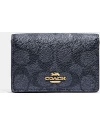 COACH - Business Card Case In Signature Canvas - Lyst