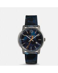 COACH - Bleecker Slim Camo Leather Strap Watch - Lyst