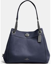 4486fa355251 Lyst - COACH The Turnlock Borough Bag In Embossed Textured Leather ...