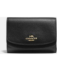 COACH - Medium Double Flap Wallet In Pebble Leather - Lyst