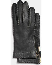 COACH - Deerskin Leather Tab Zipper Gloves - Lyst