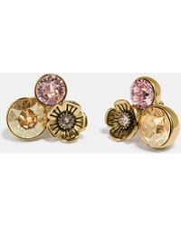 COACH - Boxed Large Tea Rose Cluster Earrings - Lyst