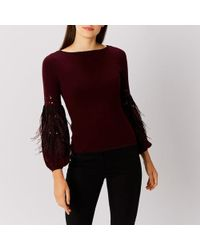Coast - Squires Feather Knit Top - Lyst