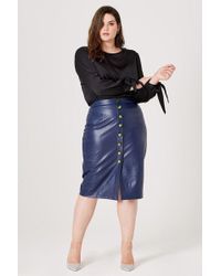 37a9be6ffe Elvi - Rose Faux Leather Pencil Skirt - Lyst