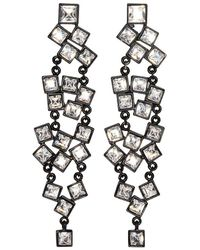 Kenneth Jay Lane - Black And Crystal Square Cluster Pierced Or Clip Earrings - Lyst