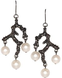 Kenneth Jay Lane - Branch & Pearl Drop Fishhook Pierced Earrings - Lyst