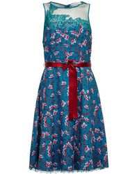 Almost Famous - Painted Floral Chiffon Dress - Lyst