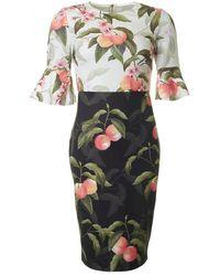 Ted Baker - Peach Blossom Fluted Sleeve Dress - Lyst