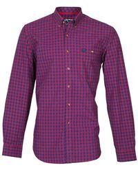 Raging Bull - Long Sleeve Small Check Shirt - Lyst