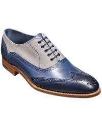 Barker Lennon Canvas & Leather Brogue Shoes - Blue