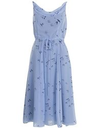Almost Famous - Bird Print Silk Dress - Lyst
