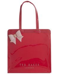 5b9d28e9f8 Ted Baker Large Icon In Red Glitter With Scallop Detail - Brick Red in Red  - Lyst