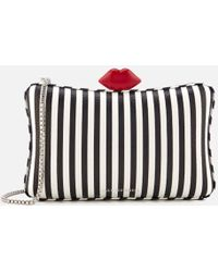 Lulu Guinness | Women's Lavinia Stripe Leather Clutch Bag | Lyst
