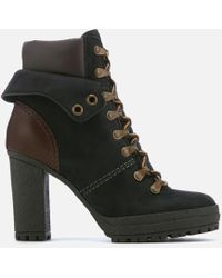 See By Chloé - Women's Nabuck Platform Heeled Lace Up Boots - Lyst