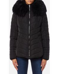 FROCCELLA - Women's Short Cheveron Big Fur Collar Coat - Lyst