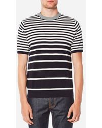 PS by Paul Smith - Men's Short Sleeve Striped Pull Over Knitted Tshirt - Lyst