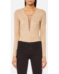 T By Alexander Wang - Women's Stretch Faux Suede Lace Up Bodysuit - Lyst