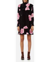 Ganni - Women's Fayette Silk Shirt Dress - Lyst