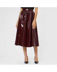 MSGM - Pvc Midi Skirt - Lyst