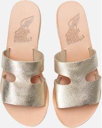 Ancient Greek Sandals Apteros Metallic Leather Slip On Sandals