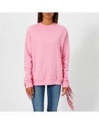 MSGM - Women's Oversized Fringe Sleeve Sweatshirt - Lyst