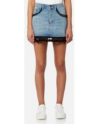 Marc Jacobs - Women's Denim Mini Skirt With Pom Poms - Lyst