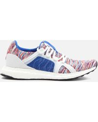 adidas By Stella McCartney - Woman Mesh-trimmed Mélange Knitted Trainers Blue - Lyst