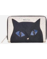 PS by Paul Smith - Women's Silver Cat Zip Around Purse - Lyst