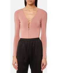 T By Alexander Wang - Women's Stretch Jersey Bodysuit With Bungee Lacing - Lyst