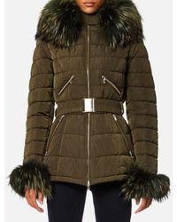 FROCCELLA - Women's Mid Belt Big Fur Collar Coat - Lyst