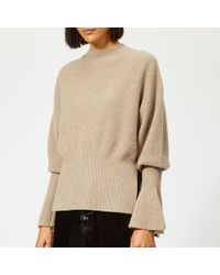 Alexander Wang Mock Neck Pullover With Rib Sleeve