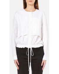 DKNY - Women's Long Sleeve Cinch Waist Shirt Tail Pullover - Lyst
