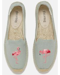 Soludos - Flamingo Embroidered Smoking Slipper Espadrilles - Lyst