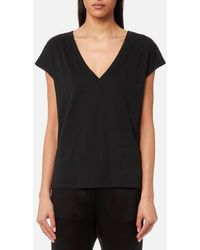 T By Alexander Wang - Women's Superfine Jersey Deep V Drop Shoulder Tshirt - Lyst