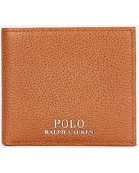 802051ab68fa Polo Ralph Lauren Logo Grained Leather Billfold Wallet in Blue for ...