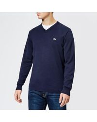 Lacoste - Cotton V Neck Knitted Jumper - Lyst