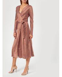 Diane von Furstenberg - Long Sleeve Midi Woven Wrap Dress - Lyst