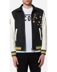 DSquared² - Wool Leather And Denim Jacket With Pins - Lyst