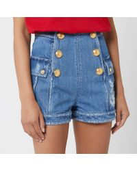 Balmain - High Waist Denim Shorts - Lyst