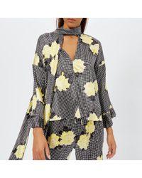 309fd420 Joie 'calla' Split Neck Silk Blouse in Gray - Lyst