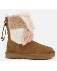 UGG - Women's Classic Short Patchwork Fur Sheepskin Boots - Lyst