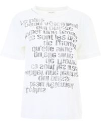 Saint Laurent - Jersey T-shirt With Quote - Lyst