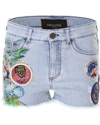 Mr & Mrs Italy - Printed Shorts With Patches - Lyst