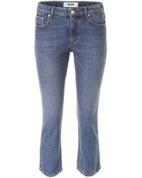 MSGM - Cropped Jeans With Logo - Lyst