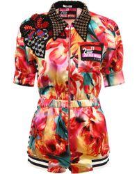 Miu Miu - Embellished Floral Print Jumpsuit - Lyst